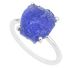 6.21cts solitaire natural blue tanzanite raw 925 silver ring size 7 t6825