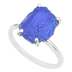 5.51cts solitaire natural blue tanzanite raw 925 silver ring size 7 t6831