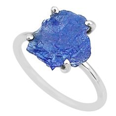 5.86cts solitaire natural blue tanzanite raw 925 silver ring size 7 t6835