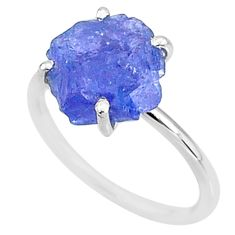 5.51cts solitaire natural blue tanzanite raw 925 silver ring size 7 t6841