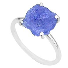 5.88cts solitaire natural blue tanzanite raw 925 silver ring size 7 t6846