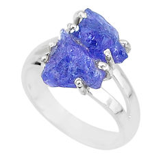 8.51cts solitaire natural blue tanzanite raw 925 silver ring size 7 t6922