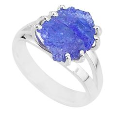 8.49cts solitaire natural blue tanzanite raw 925 silver ring size 7 t6925
