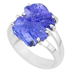 8.80cts solitaire natural blue tanzanite raw 925 silver ring size 7 t6932