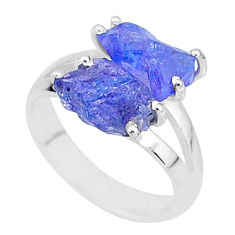 8.49cts solitaire natural blue tanzanite raw 925 silver ring size 7 t6936