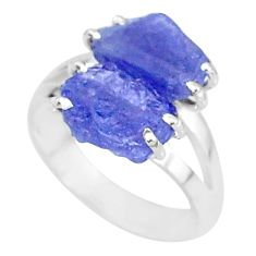 8.80cts solitaire natural blue tanzanite raw 925 silver ring size 7 t6941