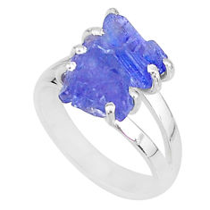 8.33cts solitaire natural blue tanzanite raw 925 silver ring size 7 t6956