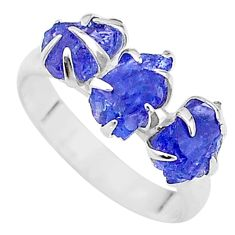 7.63cts solitaire natural blue tanzanite raw 925 silver ring size 8 t17222