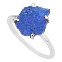 5.08cts solitaire natural blue tanzanite raw 925 silver ring size 8 t6823