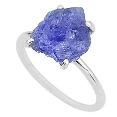 6.21cts solitaire natural blue tanzanite raw 925 silver ring size 8 t6827