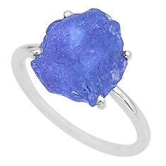 6.68cts solitaire natural blue tanzanite raw 925 silver ring size 8 t6829