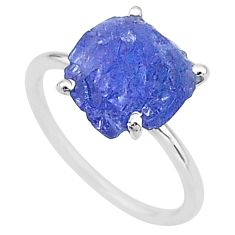 6.68cts solitaire natural blue tanzanite raw 925 silver ring size 8 t6832