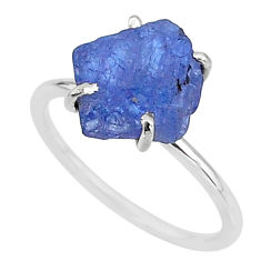 6.27cts solitaire natural blue tanzanite raw 925 silver ring size 8 t6839