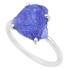 6.70cts solitaire natural blue tanzanite raw 925 silver ring size 8 t6840