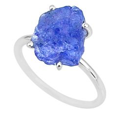 5.39cts solitaire natural blue tanzanite raw 925 silver ring size 8 t6844