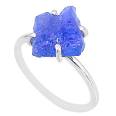 5.86cts solitaire natural blue tanzanite raw 925 silver ring size 8 t6848