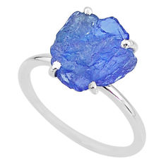 5.86cts solitaire natural blue tanzanite raw 925 silver ring size 8 t6855