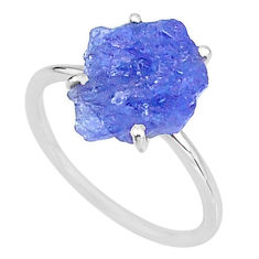 5.88cts solitaire natural blue tanzanite raw 925 silver ring size 8 t6858