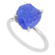 6.19cts solitaire natural blue tanzanite raw 925 silver ring size 8 t6860