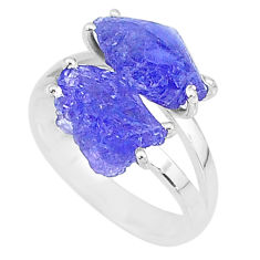9.29cts solitaire natural blue tanzanite raw 925 silver ring size 8 t6927
