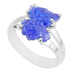8.51cts solitaire natural blue tanzanite raw 925 silver ring size 8 t6930