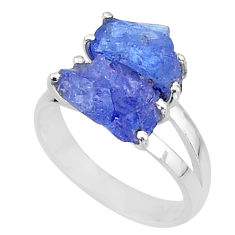 8.06cts solitaire natural blue tanzanite raw 925 silver ring size 8 t6943