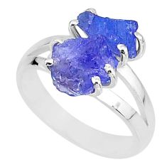 7.67cts solitaire natural blue tanzanite raw 925 silver ring size 8 t6951