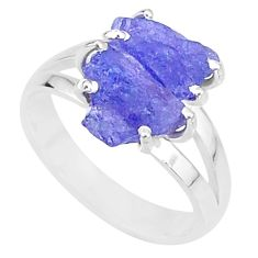 7.58cts solitaire natural blue tanzanite raw 925 silver ring size 8 t6958