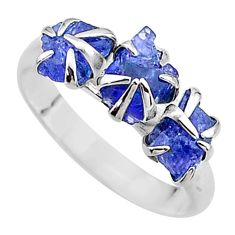 7.17cts solitaire natural blue tanzanite raw 925 silver ring size 9 t17234