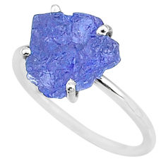 5.92cts solitaire natural blue tanzanite raw 925 silver ring size 9 t6821