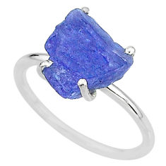 6.68cts solitaire natural blue tanzanite raw 925 silver ring size 9 t6834