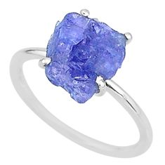5.82cts solitaire natural blue tanzanite raw 925 silver ring size 9 t6837