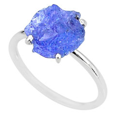 6.68cts solitaire natural blue tanzanite raw 925 silver ring size 9 t6842