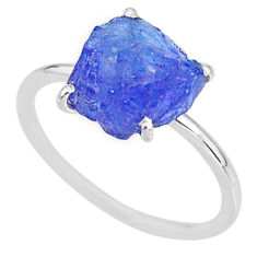 6.68cts solitaire natural blue tanzanite raw 925 silver ring size 9 t6850