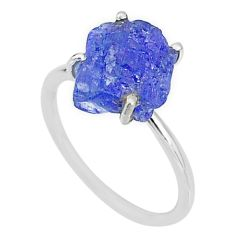6.68cts solitaire natural blue tanzanite raw 925 silver ring size 9 t6852