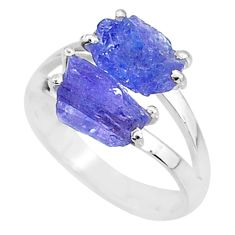 9.29cts solitaire natural blue tanzanite raw 925 silver ring size 9 t6939