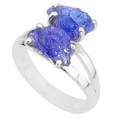 8.44cts solitaire natural blue tanzanite raw 925 silver ring size 9 t6947