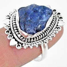 11.66cts solitaire natural blue tanzanite raw 925 silver ring size 7.5 t17775