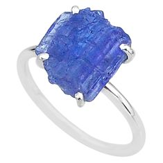 6.21cts solitaire natural blue tanzanite raw 925 silver ring size 7.5 t6822