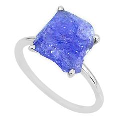 5.51cts solitaire natural blue tanzanite raw 925 silver ring size 8.5 t6853