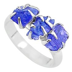 7.66cts solitaire natural blue tanzanite raw fancy silver ring size 7 t17226