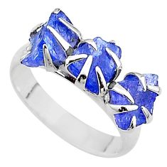 7.17cts solitaire natural blue tanzanite raw fancy silver ring size 7 t17231