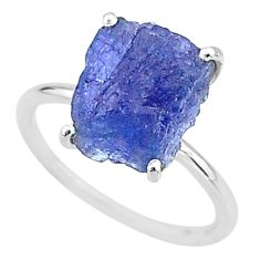 6.21cts solitaire natural blue tanzanite raw fancy silver ring size 7 t6838