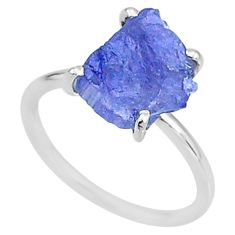 5.84cts solitaire natural blue tanzanite raw fancy silver ring size 7 t6843