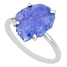 5.88cts solitaire natural blue tanzanite raw fancy silver ring size 7 t6849