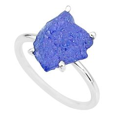 5.39cts solitaire natural blue tanzanite raw fancy silver ring size 7 t6854