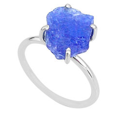 6.19cts solitaire natural blue tanzanite raw fancy silver ring size 7 t6856