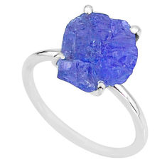 6.21cts solitaire natural blue tanzanite raw fancy silver ring size 7 t6859