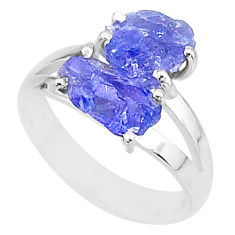 7.28cts solitaire natural blue tanzanite raw fancy silver ring size 7 t6933