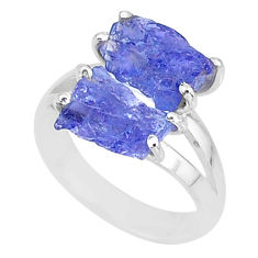 8.44cts solitaire natural blue tanzanite raw fancy silver ring size 7 t6948